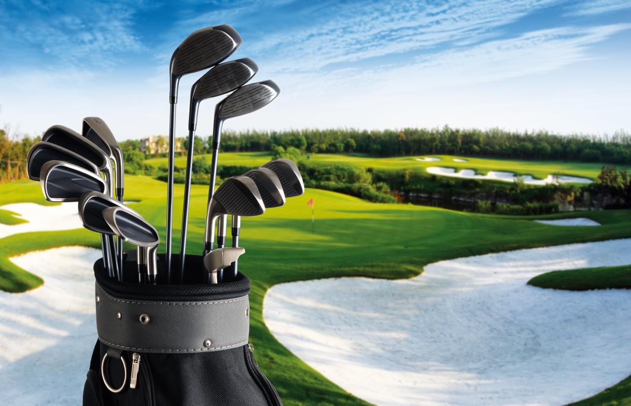Golf club set with fairway in background