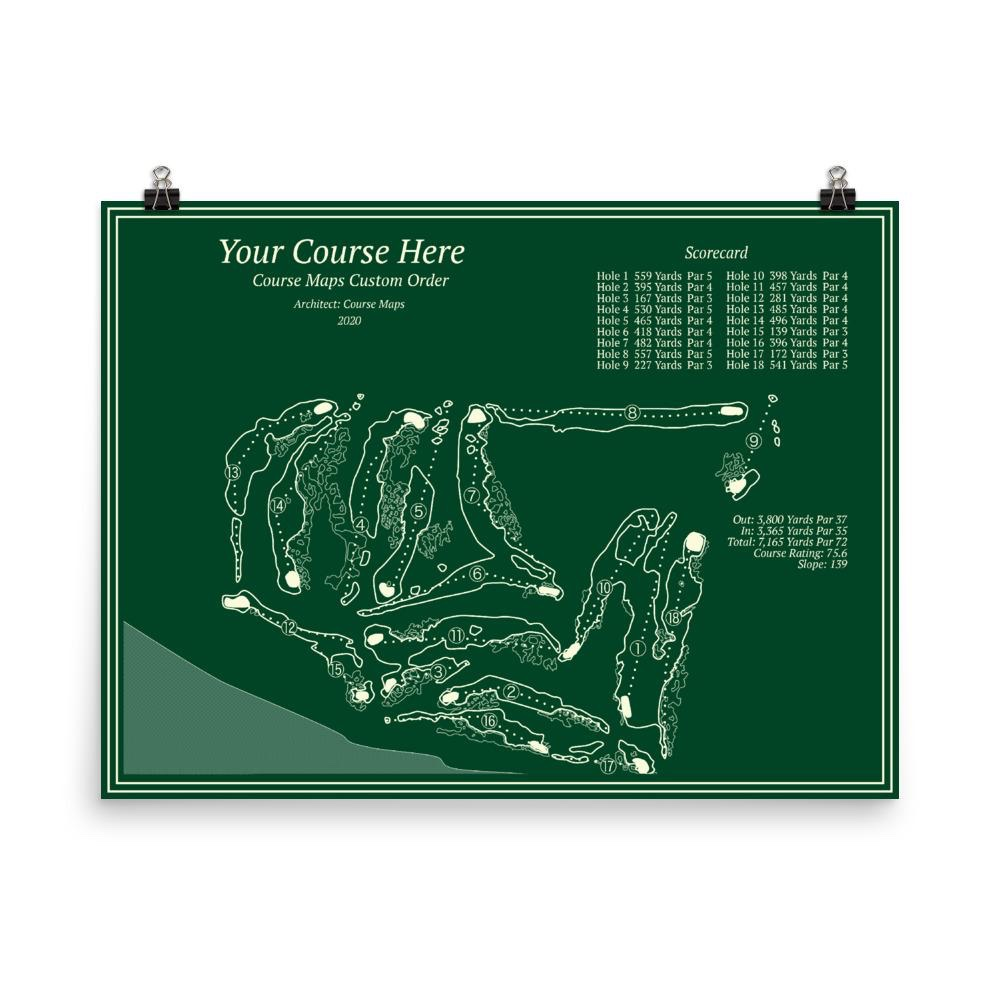 frameable custom golf course map