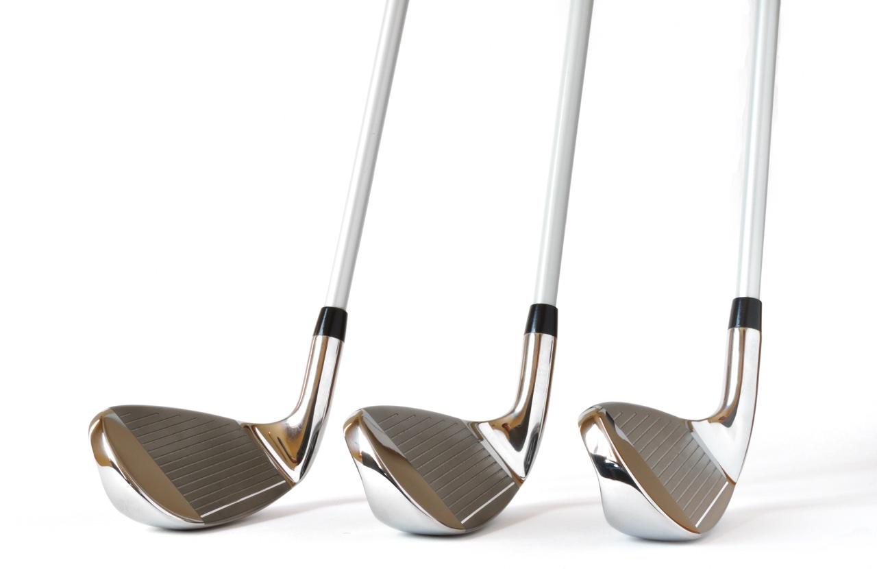 Three golf clubs side-by-side